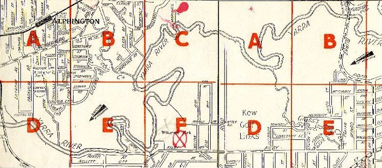 Map of East Kew 1950s.